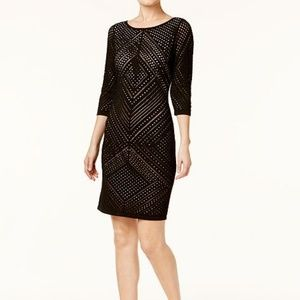 Calvin Klein Womens Perforated Knit Dress Large